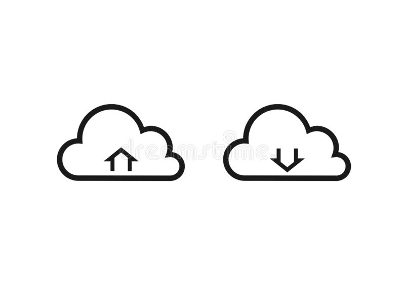 De wolk uploadt en downloadt geïsoleerde vectorpictogrammen vector illustratie
