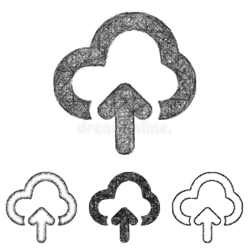 De wolk uploadt geplaatst pictogram - schets lijnart. stock illustratie