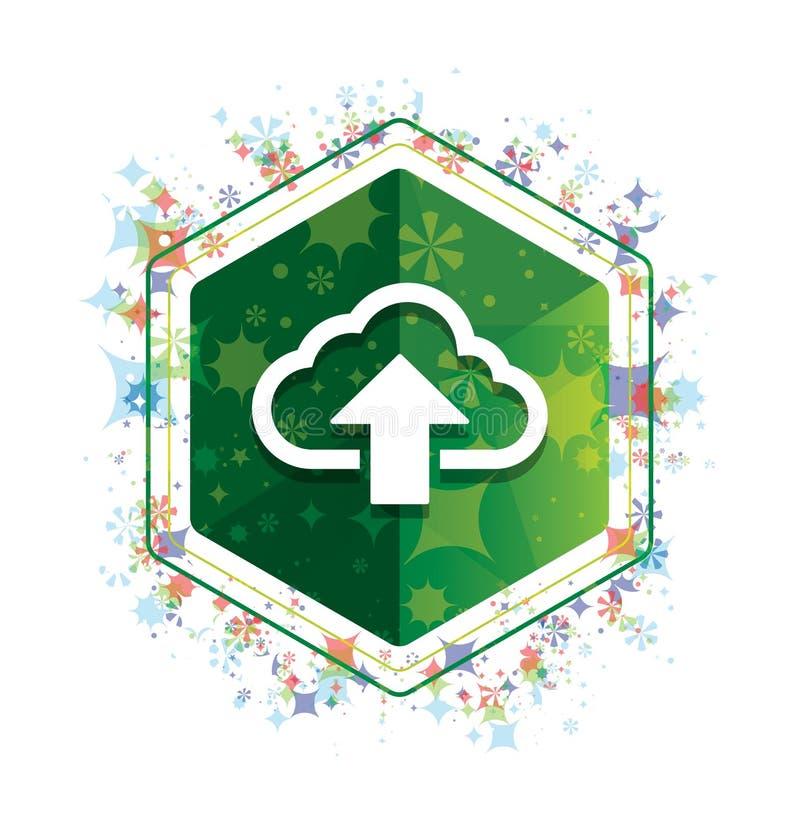 De wolk uploadt het patroon groene hexagon knoop van pictogram bloemeninstallaties royalty-vrije illustratie