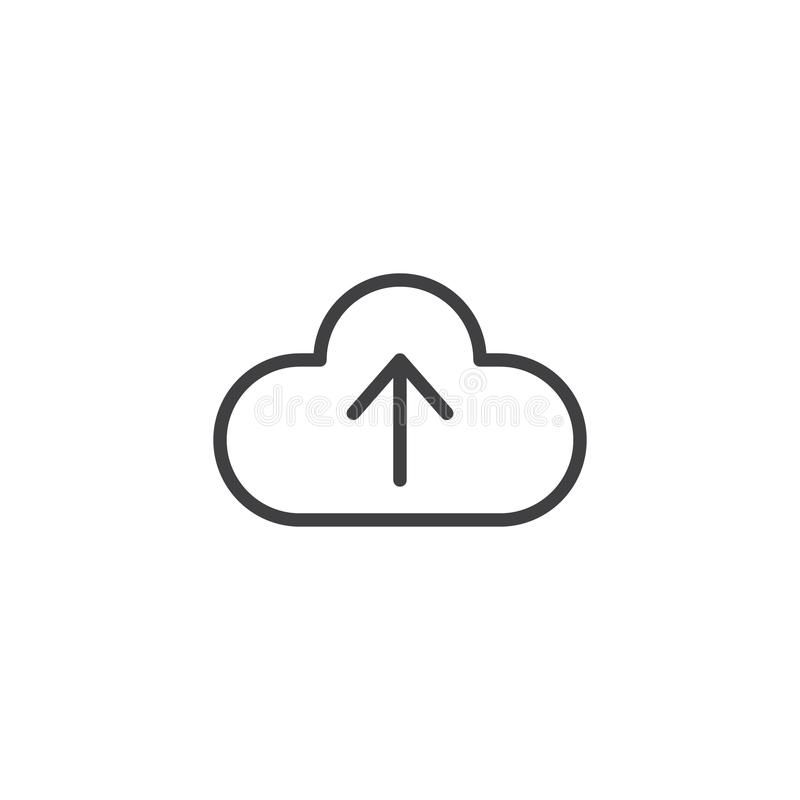De wolk uploadt lijnpictogram stock illustratie