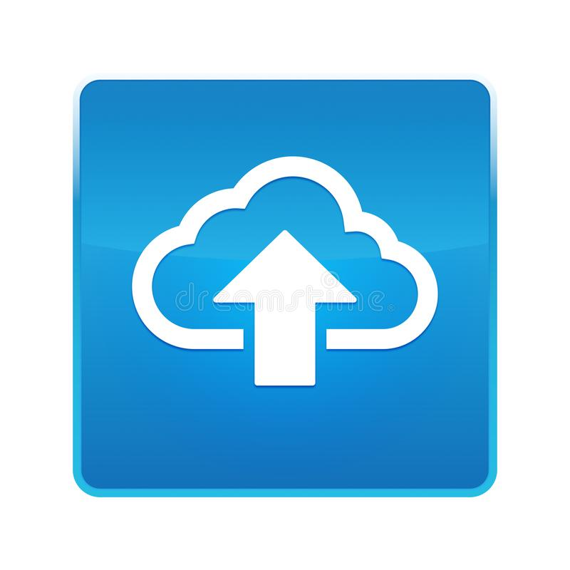 De wolk uploadt pictogram glanzende blauwe vierkante knoop vector illustratie