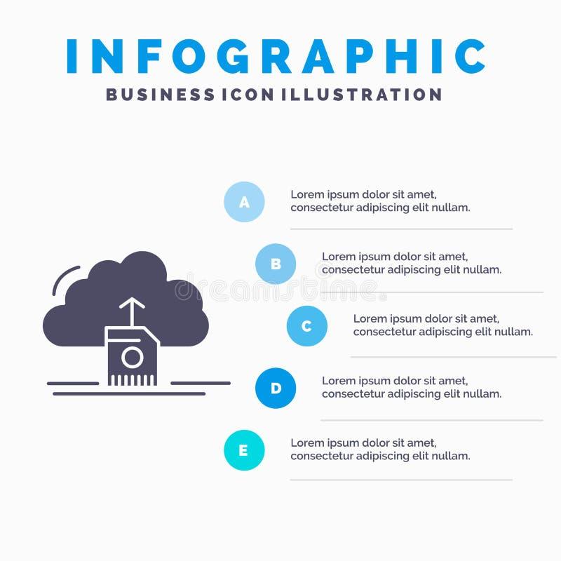 de wolk, uploadt, sparen, gegevens, de gegevensverwerking van Infographics-Malplaatje voor Website en Presentatie GLyph Grijs pic stock illustratie