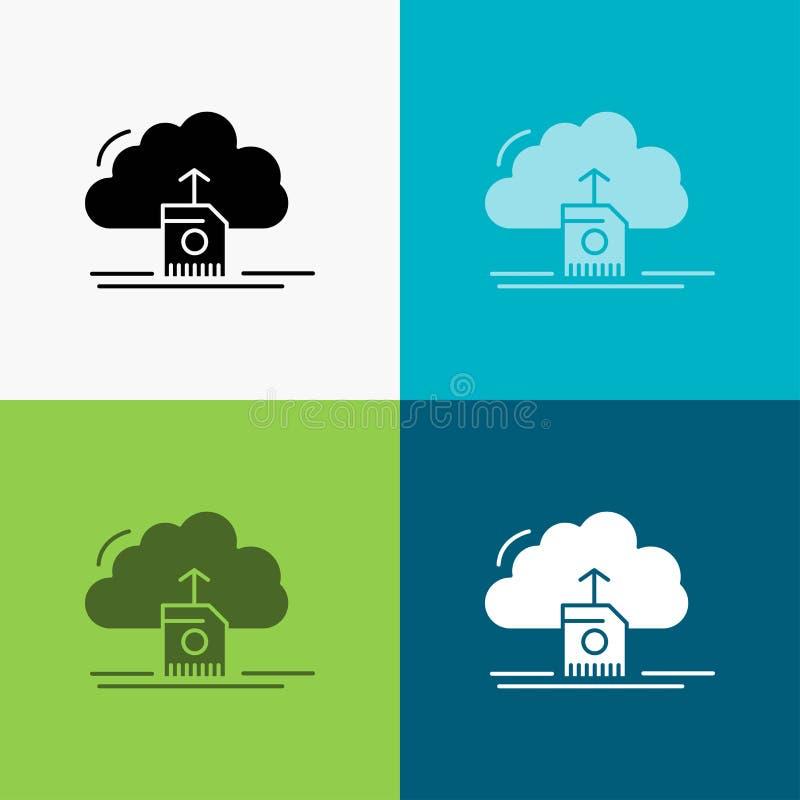de wolk, uploadt, sparen, gegevens, de gegevensverwerking van Pictogram over Diverse Achtergrond glyph stijlontwerp, voor Web dat stock illustratie