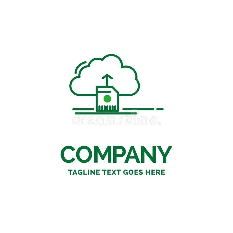 de wolk, uploadt, sparen, gegevens, de gegevensverwerking van Vlak Bedrijfsembleemmalplaatje stock illustratie