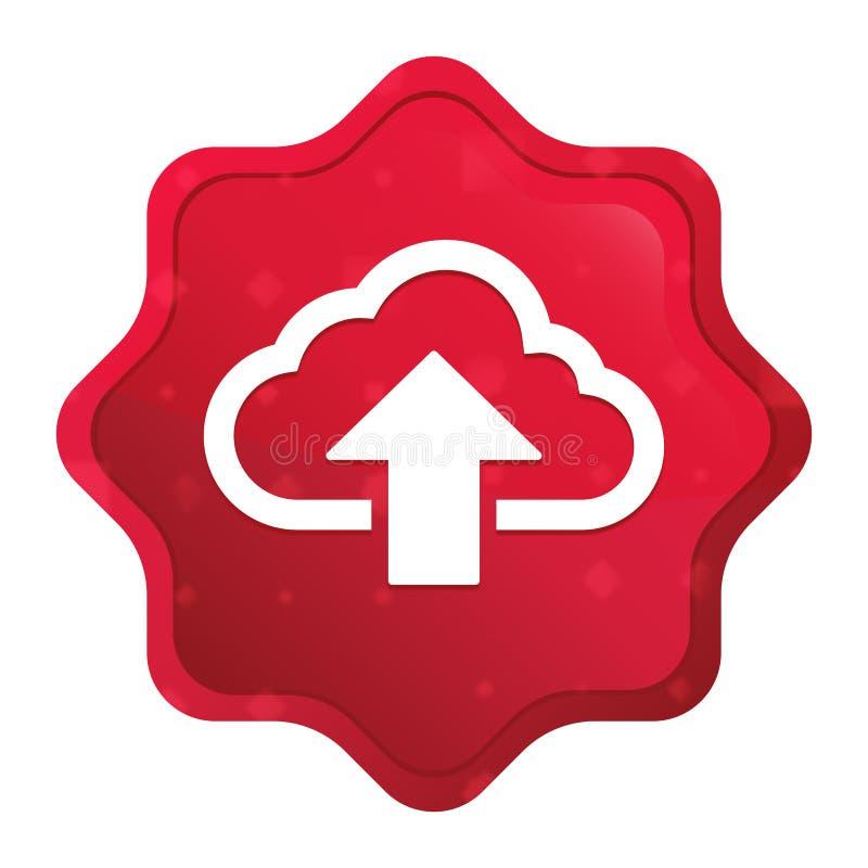 De wolk uploadt de stickerknoop van pictogram nevelige rozerode starburst stock illustratie