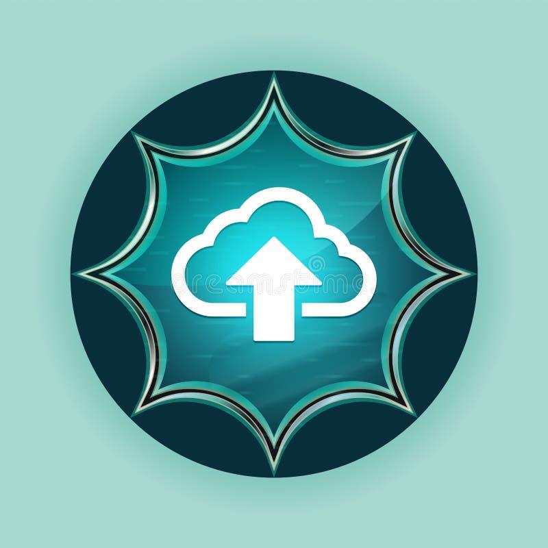 De wolk uploadt van de de knoophemel van de pictogram de magische glazige zonnestraal blauwe blauwe achtergrond royalty-vrije illustratie