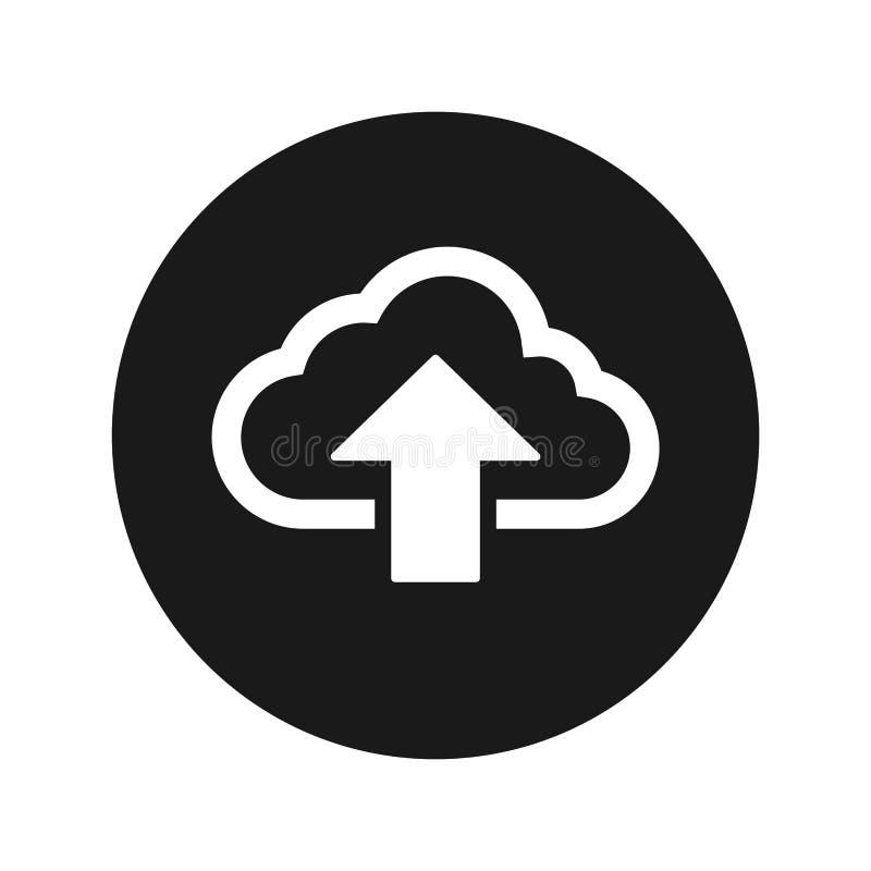 De wolk uploadt vectorillustratie van de pictogram de vlakke zwarte ronde knoop stock illustratie
