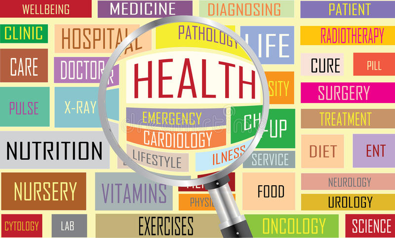 De wolk van de gezondheidsmarkering vector illustratie