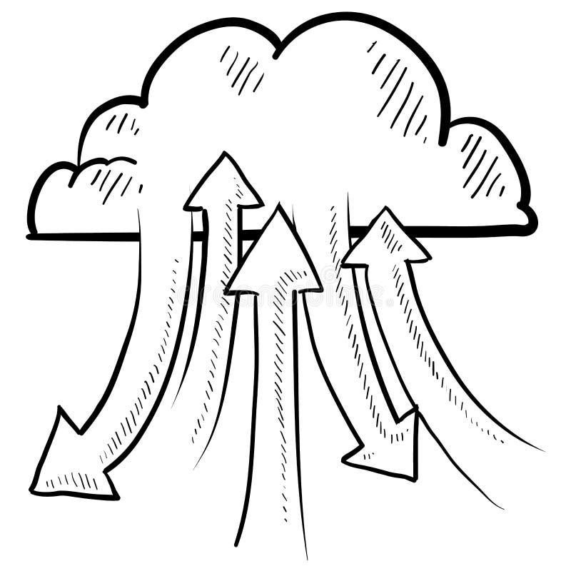 De wolk van de informatie gegevensverwerkingsvector stock illustratie