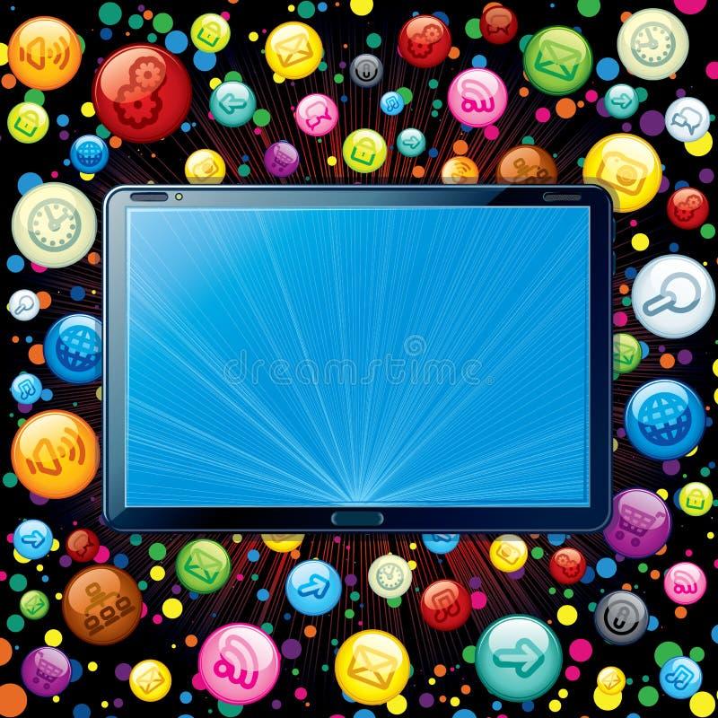 De Wolk van de Pictogrammen van PC van de tablet royalty-vrije illustratie