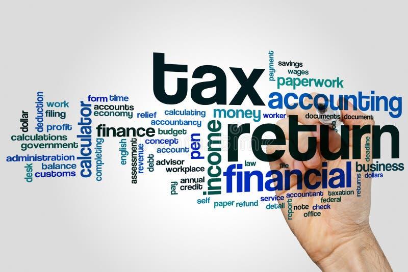 De wolk van het belastingaangiftewoord stock afbeelding