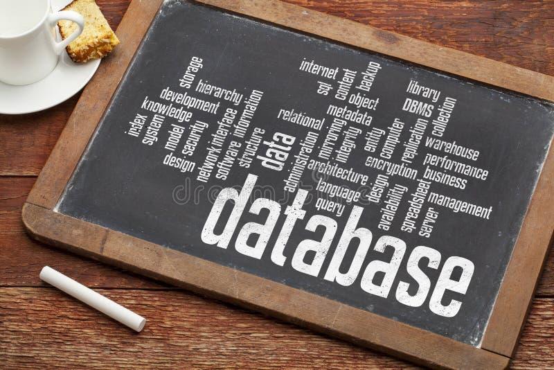 De wolk van het gegevensbestandwoord op bord royalty-vrije stock foto's
