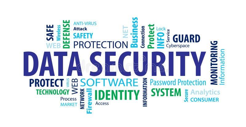 De wolk van het gegevensbeveiligingwoord stock illustratie