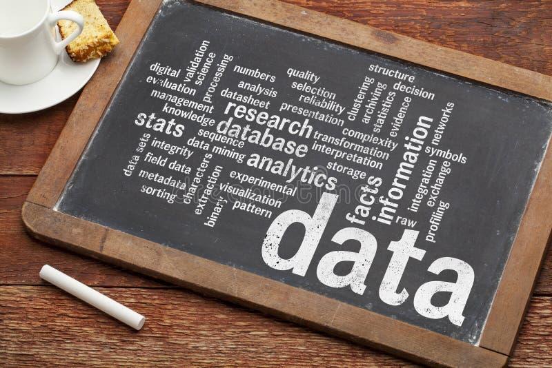 De wolk van het gegevenswoord op bord stock afbeeldingen
