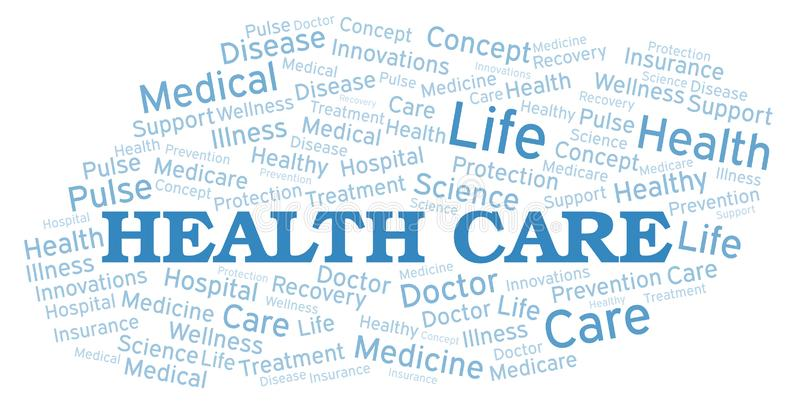 De wolk van het gezondheidszorgwoord royalty-vrije illustratie
