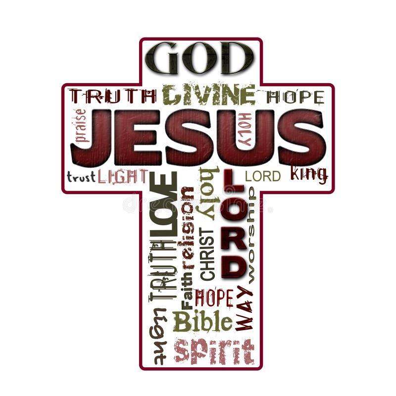 De wolk van het godsdienstwoord, Jesus, Christendom vector illustratie