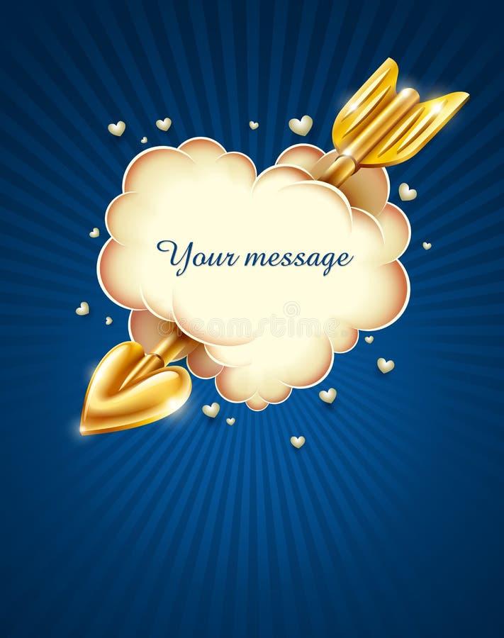 De wolk van het hart die door de pijl van gouden cupid wordt geslagen vector illustratie