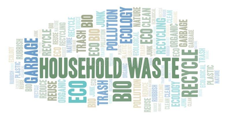 De wolk van het huishoudelijk afvalwoord vector illustratie