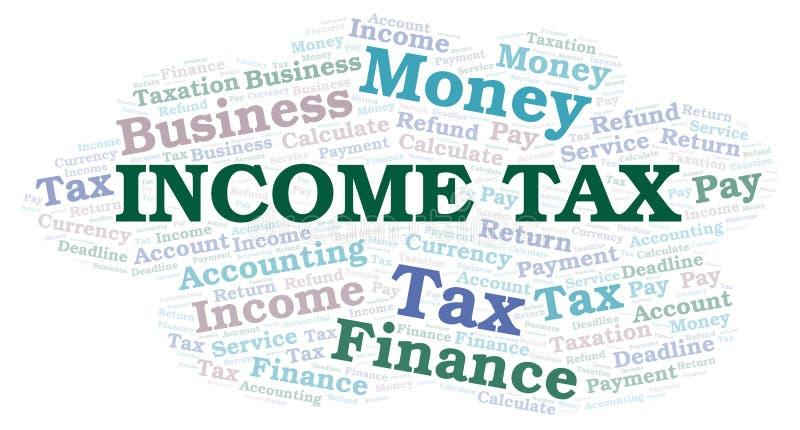 De wolk van het inkomstenbelastingswoord stock illustratie