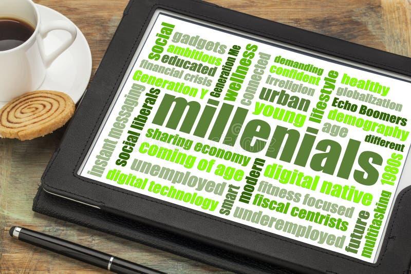 De wolk van het Millenialswoord op tablet stock fotografie