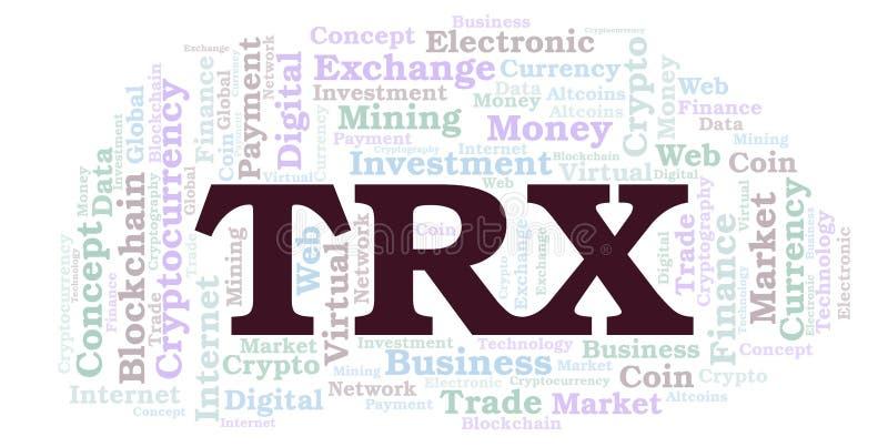 De wolk van het het muntstukwoord van TRX of TRON-van cryptocurrency vector illustratie