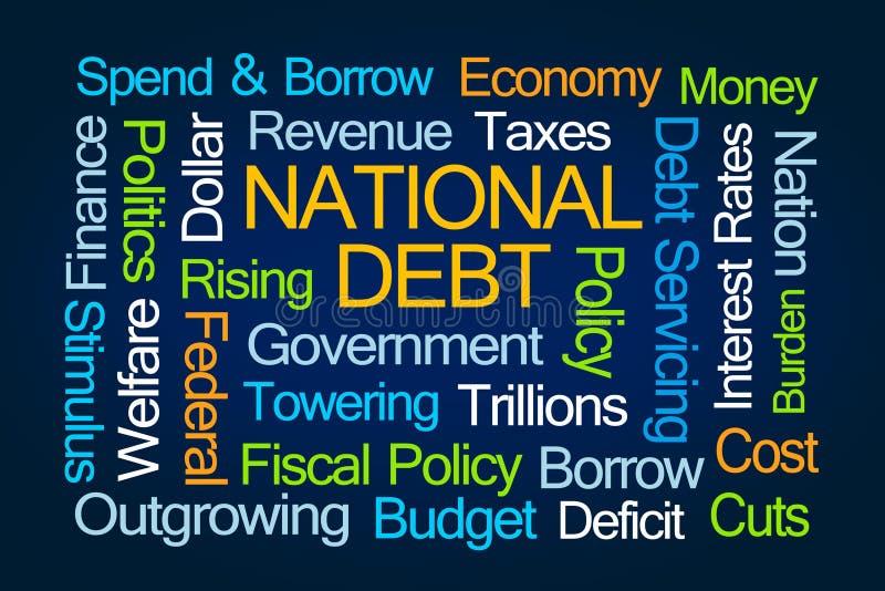 De wolk van het nationale schuldwoord stock illustratie