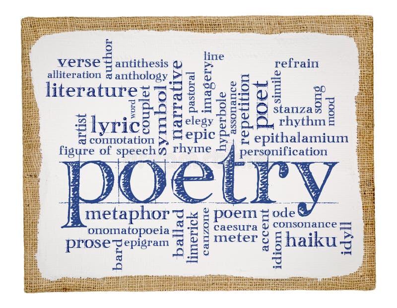 De wolk van het poëziewoord op kunstcanvas royalty-vrije stock foto's