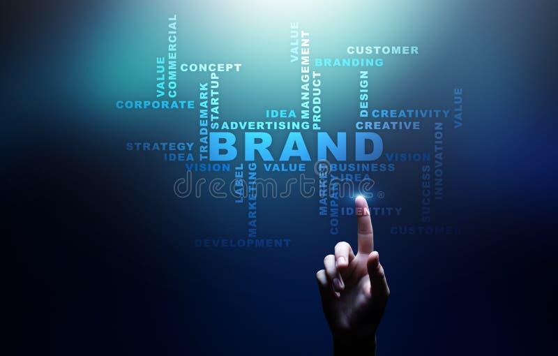 De wolk van merkwoorden op het virtuele scherm Het brandmerken, Marketing en Reclame concept stock afbeelding