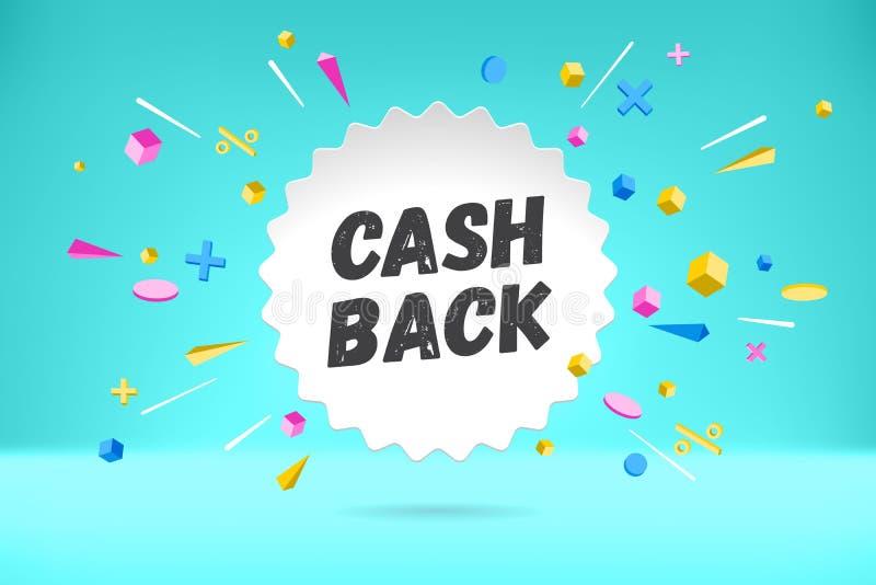 De wolk van de Witboekbel met de RUG van het tekstcontante geld voor verkoop, het winkelen promobanner, kortingsontwerp Vectoraff stock illustratie