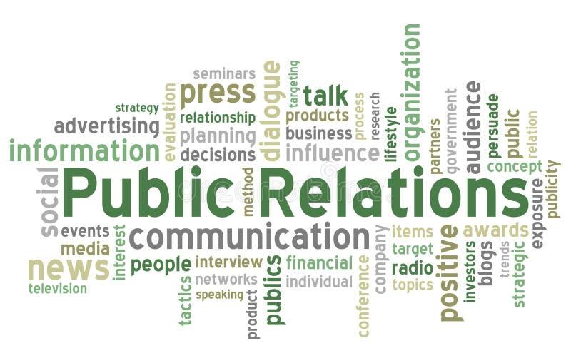 De Wolk van Word van public relations royalty-vrije illustratie