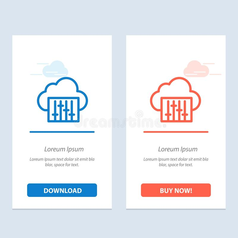 De wolk, de Verbinding, de Muziek, de Audio Blauwe en Rode Download en kopen nu de Kaartmalplaatje van Webwidget royalty-vrije illustratie