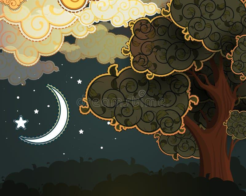 De nachtlandschap van het beeldverhaal vector illustratie