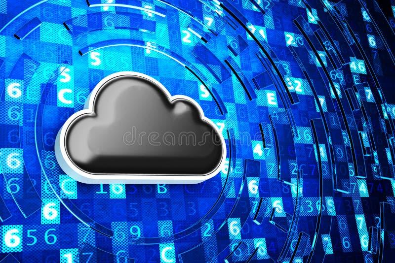 De wolken gegevens verwerkende dienst, het verre gegevensopslag en concept van de netwerkbeveiligingtechnologie royalty-vrije illustratie