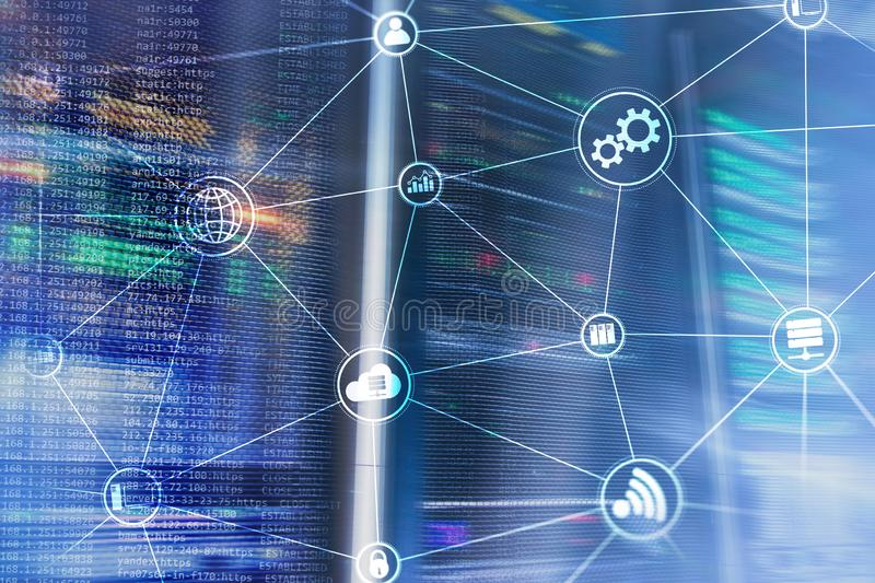 De wolken gegevensverwerking en mededeling van de technologieinfrastructuur Het concept van Internet royalty-vrije illustratie