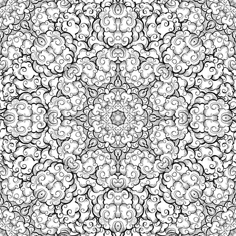 De wolken overhandigen getrokken abstract naadloos vectorpatroon stock illustratie