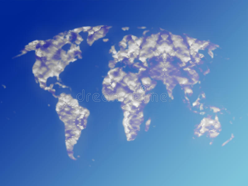 De wolken van de wereldkaart in de zomerhemel royalty-vrije illustratie