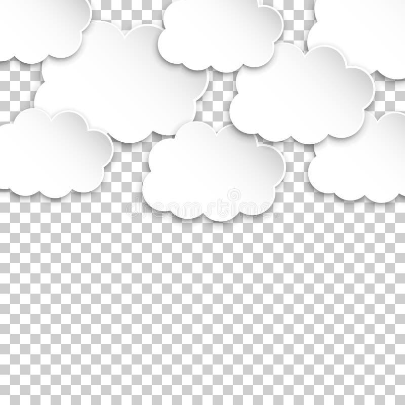 De wolken van het document Artoon document Ð ¡ wolkenillustratie op geïsoleerde tran stock illustratie