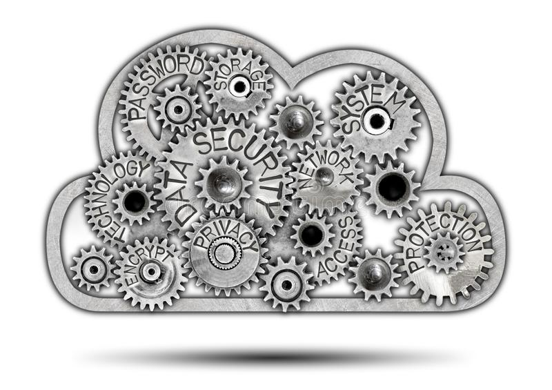 De Wolkenconcept van het metaalwiel royalty-vrije illustratie
