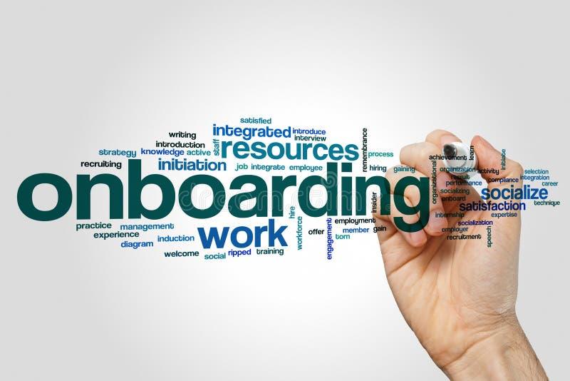 De wolkenconcept van het Onboardingswoord stock foto