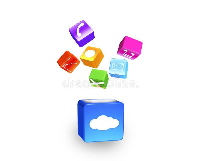 De wolkendoos verlichtte het kleurrijke app pictogrammen drijven geïsoleerd op wh vector illustratie