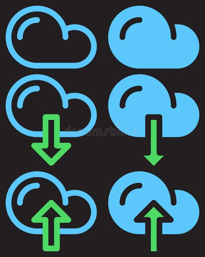 De wolkendownload en uploadt eenvoudige lijn en volledige pictogrammen, overzicht en stevige vectortekens, lineaire en gevulde pi royalty-vrije illustratie