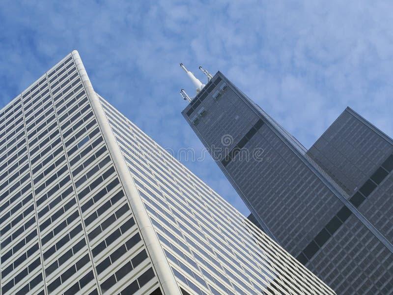 De Wolkenkrabberarchitectuur van Chicago met Dull Winter Sky royalty-vrije stock fotografie
