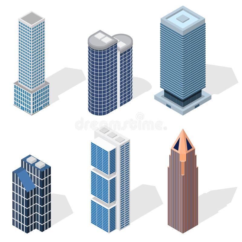 De wolkenkrabberbouw Vastgestelde Isometrische Mening Vector royalty-vrije illustratie