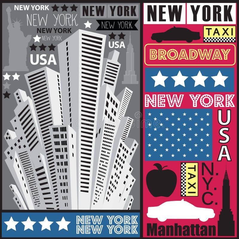 De wolkenkrabberillustratie van New York royalty-vrije illustratie