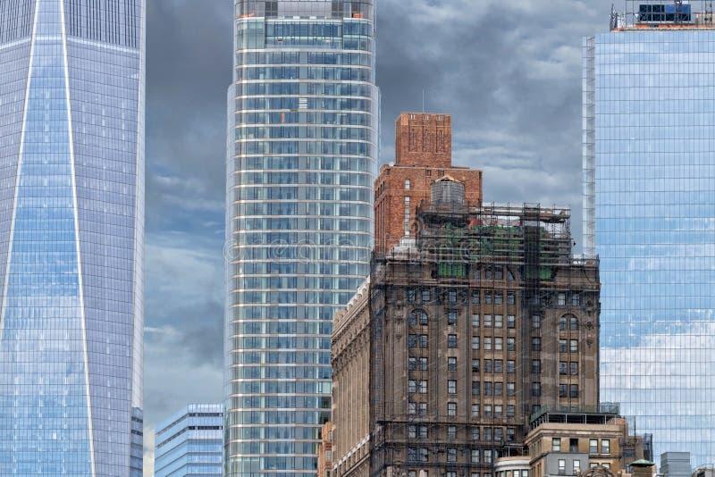 De wolkenkrabbers die van New York Manhattan detail bouwen royalty-vrije stock fotografie