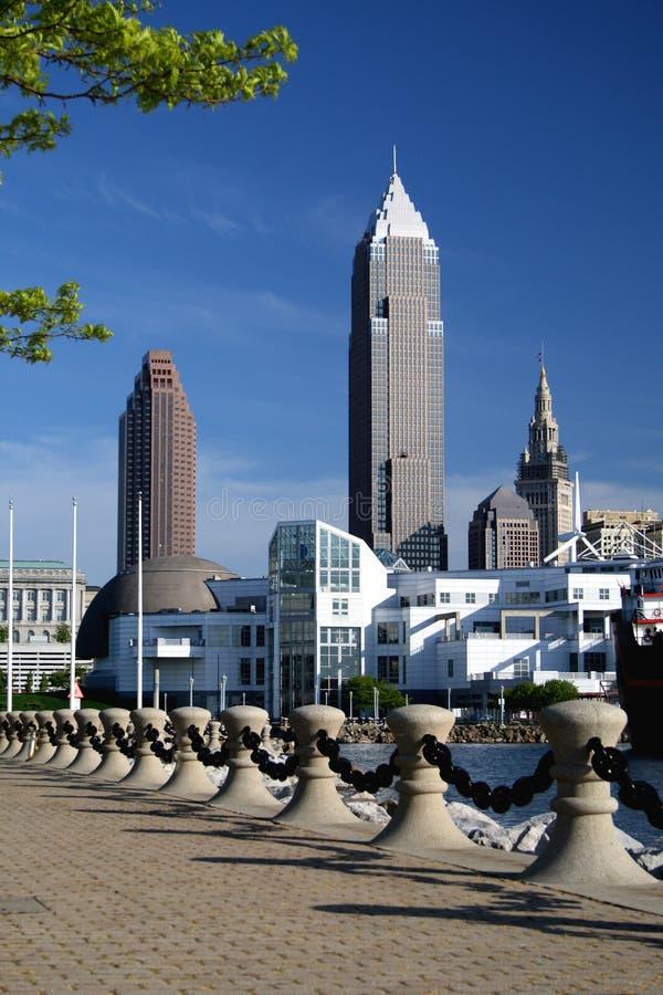De wolkenkrabbers van de Horizon van Cleveland Ohio stock foto