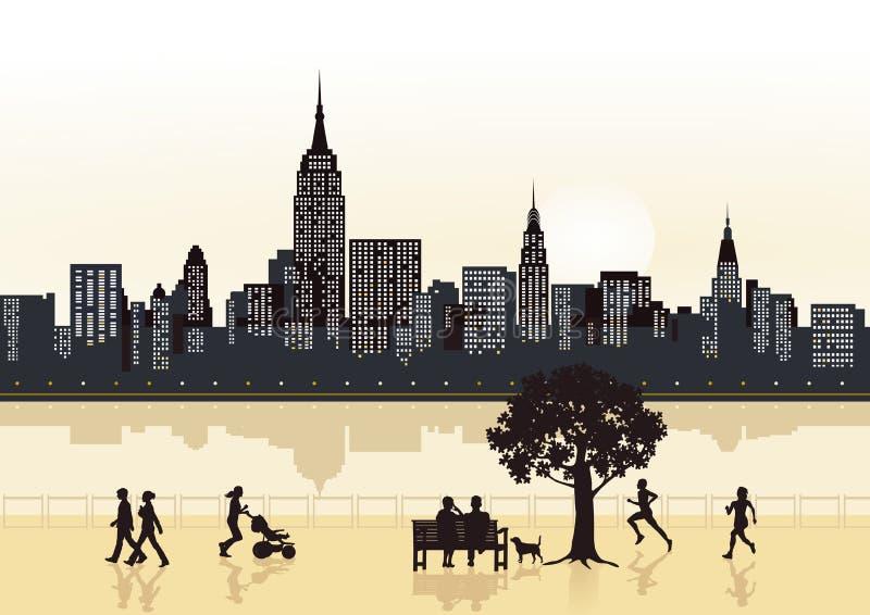 De wolkenkrabbers van de stad stock illustratie