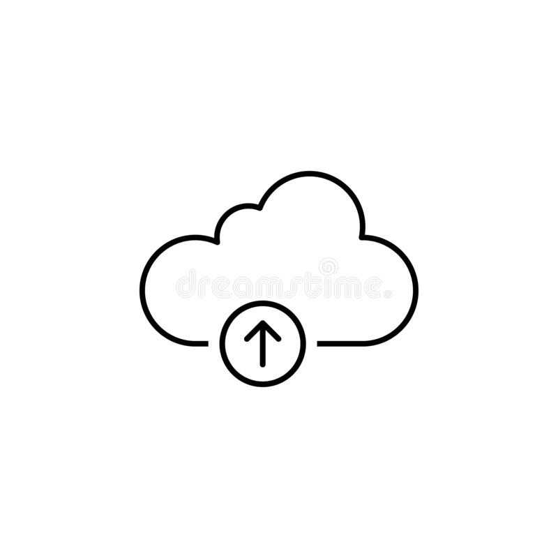 De wolkenopslag uploadt overzichtspictogram De tekens en de symbolen kunnen voor Web, embleem, mobiele toepassing, UI, UX worden  vector illustratie