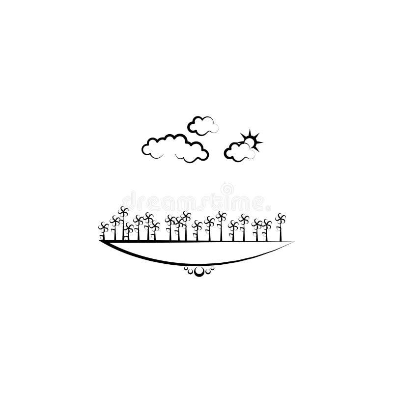de wolkenpictogram van de bloemenzon Element van landschapspictogram voor mobiel concept en Web apps Getrokken de hand bloeit het royalty-vrije illustratie