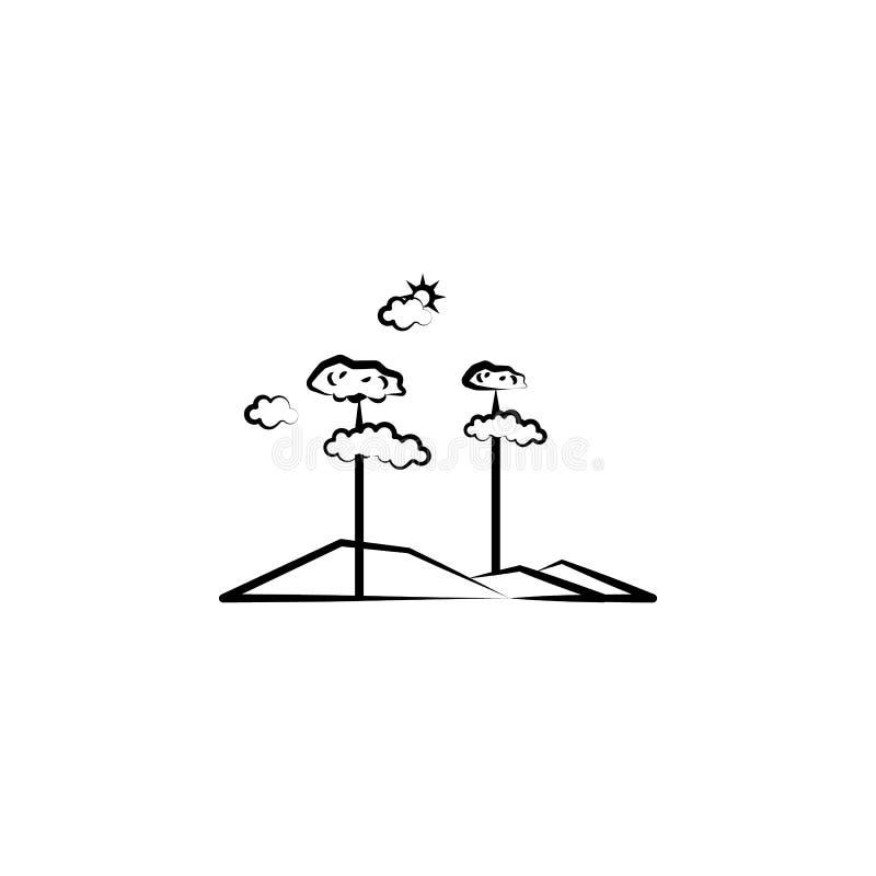 de wolkenpictogram van de boomzon Element van landschapspictogram voor mobiel concept en Web apps Kan het hand getrokken de wolke royalty-vrije illustratie